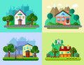 Flat Urban And Village Landscapes Stock Image - 54049481