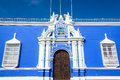 Blue Colonial Building In Peru Stock Images - 54052514