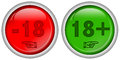 Set Of Red And Green Round Web Buttons For 18 + Adult Content, Glossy Design, Royalty Free Stock Photo - 54053255