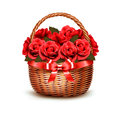 Holiday Background With Basket Full Of Red Roses. Royalty Free Stock Image - 54054816