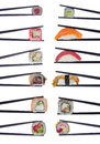 Many Sushi Rolls In Chopsticks Isolated On White Royalty Free Stock Photos - 54073298