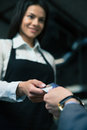 Man Giving Bank Card To Female Waiter In Cafe Royalty Free Stock Images - 54082759