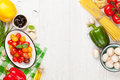 Italian Food Cooking Ingredients. Pasta, Vegetables, Spices Royalty Free Stock Images - 54086749
