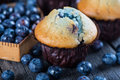 Blueberry Muffins And Fresh Berries On Wooden Table Royalty Free Stock Photography - 54097207