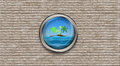 Abstract Ship Porthole Overlooking The Palm-tree Island And The Royalty Free Stock Photography - 54099497