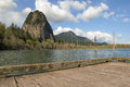 Beacon Rock View From Boat Dock Stock Images - 54132644