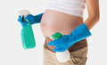 Cleaning Products And Safety While Pregnant  Isolated Over White Stock Photo - 54144610
