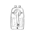 Red Mechanical Sharpener Of Pencil Hand Drawn Sketch Isolated On Royalty Free Stock Images - 54147639