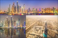 Collage Of The Beauty Panorama At Dubai Marina. Royalty Free Stock Images - 54151719