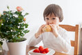 Beautiful Little Boy, Eating Sandwich At Home, Vegetables On The Stock Photos - 54157233