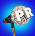 PR Public Relations Microphone Mic Stand Mike Interview Share Me Royalty Free Stock Images - 54157579