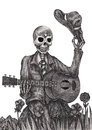 Skull Art Playing Guitar Day Of The Dead. Stock Photo - 54181260