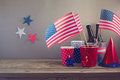 USA Independence Day Celebration. Table Arrangement For Party Royalty Free Stock Photography - 54191357