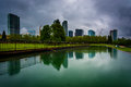 The Skyline Reflecting In A Pond, At Downtown Park, In Bellevue, Royalty Free Stock Photography - 54204837