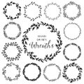 Vintage Set Of Hand Drawn Rustic Wreaths. Floral Vector Graphic. Stock Images - 54205334