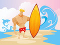 Surfer On The Beach Caracter Royalty Free Stock Photo - 54205525