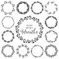 Vintage Set Of Hand Drawn Rustic Wreaths. Floral Vector Graphic. Royalty Free Stock Photo - 54206695