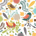 Vector Floral Background.Seamless Floral Pattern With Stylized Flower And Bird Royalty Free Stock Photos - 54224128