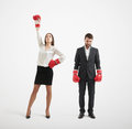 Businessman Loser And Winner Businesswoman Royalty Free Stock Photo - 54225205