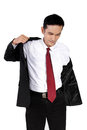 Young Businessman Putting On Suit, Isolated On White Stock Photo - 54237280