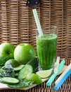 Green Smoothie Of Spinach, Apple, Cucumber And Lime Royalty Free Stock Images - 54241629
