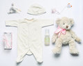 Top View Set Of Fashion Trendy Stuff For Newborn Baby Girl In So Stock Image - 54242391