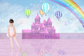 Little Balerina In Front Of A Pink Fairy Castle Royalty Free Stock Image - 54253526