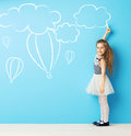 Cute Girl Making Chalk Drawings Royalty Free Stock Photo - 54268235