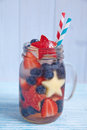 Cocktail With Strawberry, Blueberry And Apple Stock Image - 54277791