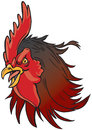 Angry Realistic Rooster Mascot Head Illustration Royalty Free Stock Images - 54279229