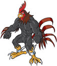 Muscular Cartoon Rooster Mascot With Semi-Realistic Head Royalty Free Stock Images - 54279239