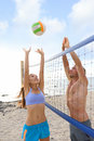 Beach Volleyball Sport People Playing Outside Stock Photo - 54283270