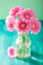 Beautiful Pink Gerbera Flowers Bouquet In Vase Royalty Free Stock Photography - 54293177