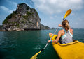 Woman With The Kayak Stock Images - 54294674