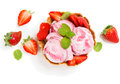 Strawberry Ice Cream In A Wafer Bowl, View From Above Royalty Free Stock Photos - 54295818