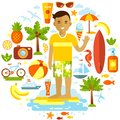 Man And Summer Beach Vacation Elements Set In Flat Royalty Free Stock Photography - 54297007