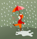 Dancing And Singing In The Rain Royalty Free Stock Image - 54314386