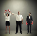 Referee Holding Winner Businesswoman Royalty Free Stock Images - 54325879