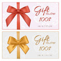 Voucher Template With Floral Pattern, Border, Red And Gold Bow A Stock Images - 54336934