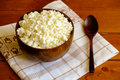 Cottage Cheese In The Wooden Bowl Royalty Free Stock Photos - 54347738