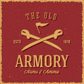 Old Armory Arms And Ammo Abstract Vintage Label Stock Image - 54356321