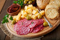 Antipasto Catering Platter With Salami And Cheese Royalty Free Stock Photos - 54384308