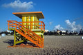 Green And Yellow Lifeguard Tower In South Beach Royalty Free Stock Image - 5440036