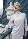 Beautiful Business Woman Blond Glasses Makeup Architecture Royalty Free Stock Image - 54412256