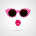 Vintage Sunglasses And Pink Lips Royalty Free Stock Images - 54416419