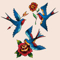 Swallows And Flowers Royalty Free Stock Photo - 54431235
