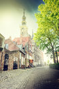 European Town Street With Cobblestone Pavement Royalty Free Stock Image - 54433806