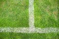 Cross Of Painted White Lines On Natural Football Grass. Artificial Green Turf Texture. Royalty Free Stock Image - 54464186