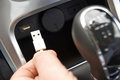 Close Up Of Hand Holding USB Connector In Car Stock Photos - 54468263