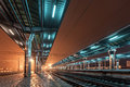 Railway Station At Night. Train Platform In Fog. Railroad Stock Photo - 54479080